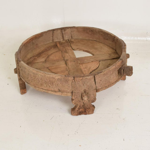 """For your consideration: an Antique Rice Washer Wood Planter Base Outdoor Patio Garden Table Dimensions: 30"""" in diameter x..."""