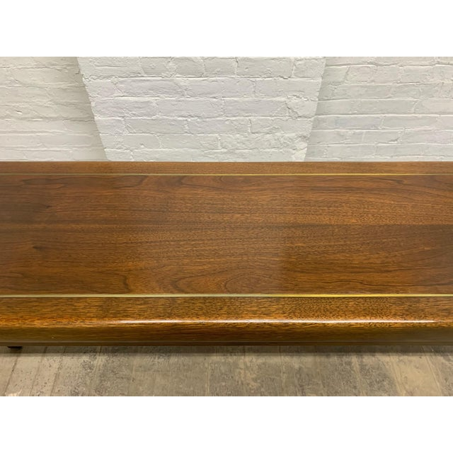 1970s Walnut and Brass Inlay Console by Baker Furniture Company For Sale - Image 5 of 6