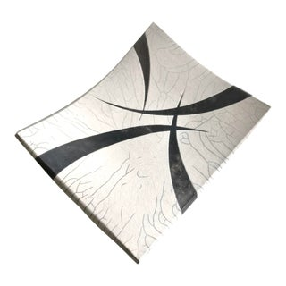 1980s Signed Raku White Black Abstract Ceramic Curved Footed Serving Tray Dish, Japan For Sale