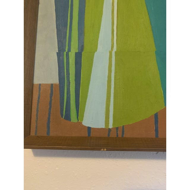 1960s Mid-Century Modern Abstract Line Acrylic Painting, Framed For Sale - Image 5 of 8