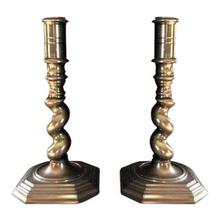 Maitland Smith Twisted Barley Brass Candle Holders - a Pair For Sale