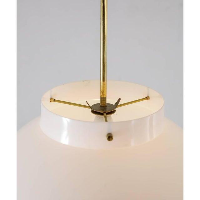 Yki Nummi White Plexiglass and Brass Pendant for Orno, Finland, 1960s For Sale - Image 6 of 8