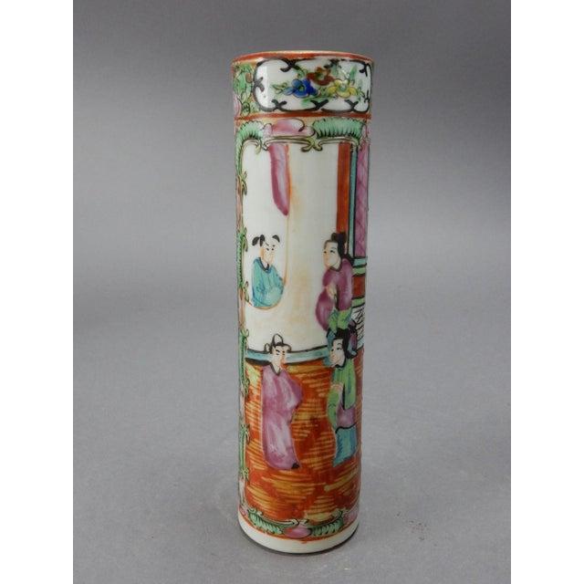 Antique Chinese Export Rose Medallion Cylinder Vase - Image 2 of 11