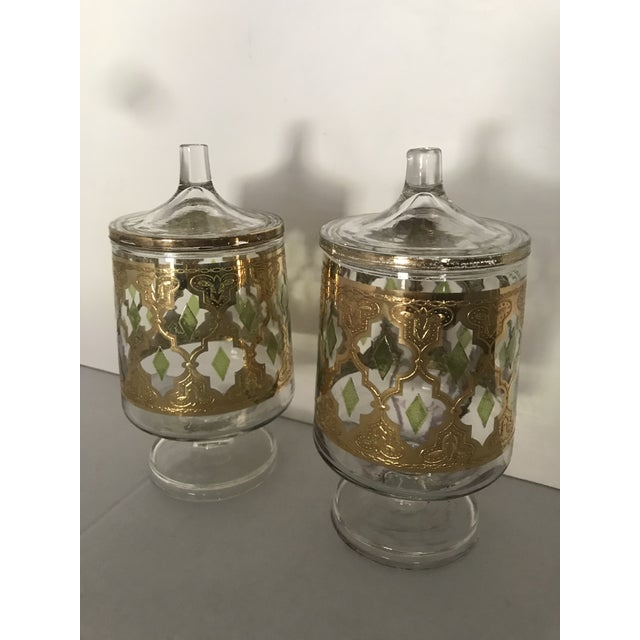 """Culver """"Valencia"""" Gilt Footed Containers - Pair For Sale - Image 10 of 10"""