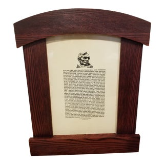 Oak Arts and Crafts Style Framed Lincoln Speech For Sale