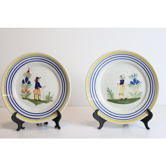 1950s Quimper French Hand Painted Plates - a Pair For Sale - Image 5 of 5