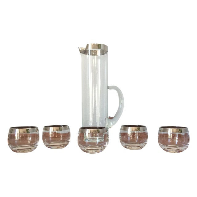 Mid-Century Silver Cocktail Pitcher & Five Glasses - Image 1 of 9