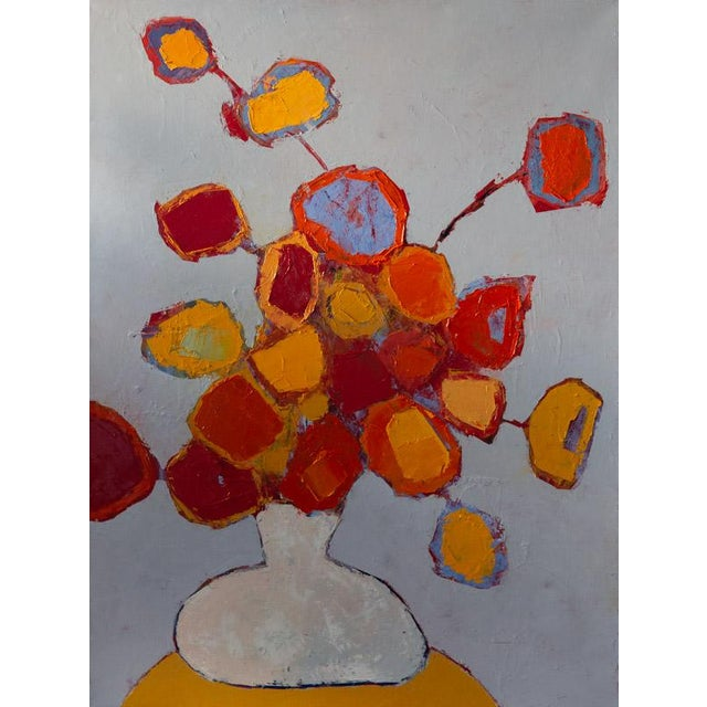 """Bill Tansey """"White Vase"""" Abstract Floral Oil Painting on Canvas For Sale"""