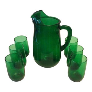 Vintage Anchor Hocking Forest Green Depressed Juice Pitcher and Matching Glasses - 7 Pc.