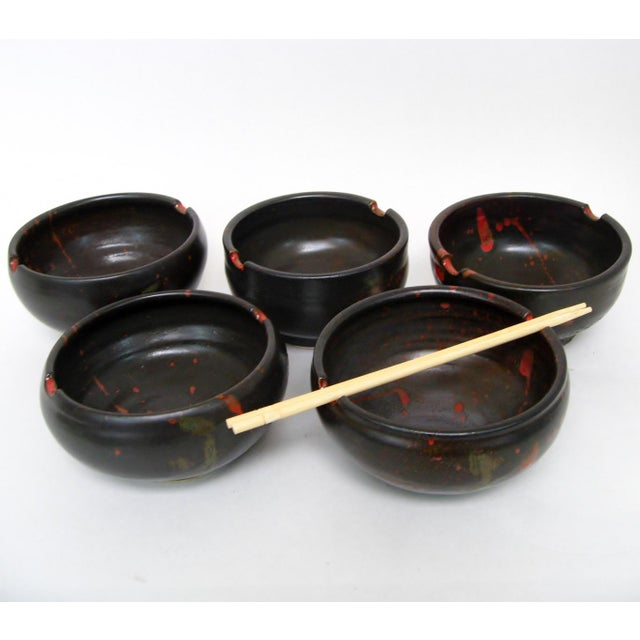 Japanese Ceramic Rice Bowls - Set of 5 - Image 5 of 7