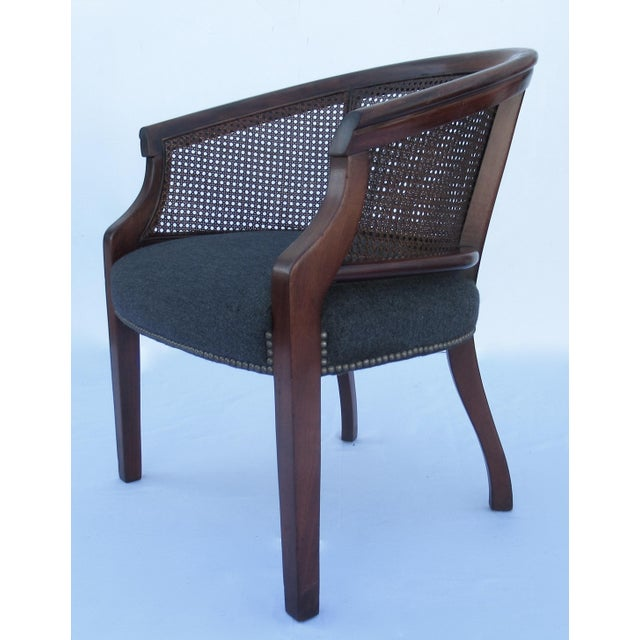 Vintage C.1968 Mahogany Barrel Back & Caned Arm Chairs With Brass Nail Heads - a Pair For Sale In Miami - Image 6 of 13