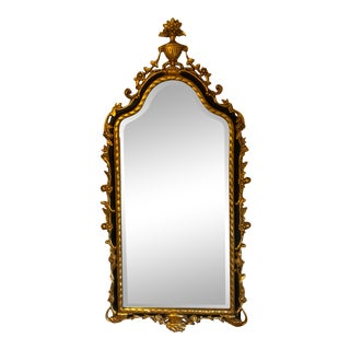 Vintage Rococo Style Relief Carved Frame Beveled Glass Wall Mirror For Sale