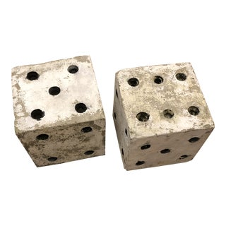 1950s Art Deco Cast Stone Garden Dice - a Pair For Sale