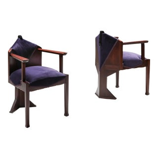 Dutch Art Deco 'Amsterdamse School' Pair of Armchairs - 1950s For Sale
