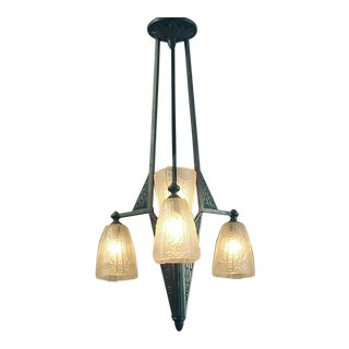1920s French Art Deco Era, Secessionist Styling Chandelier With Donna Shades For Sale