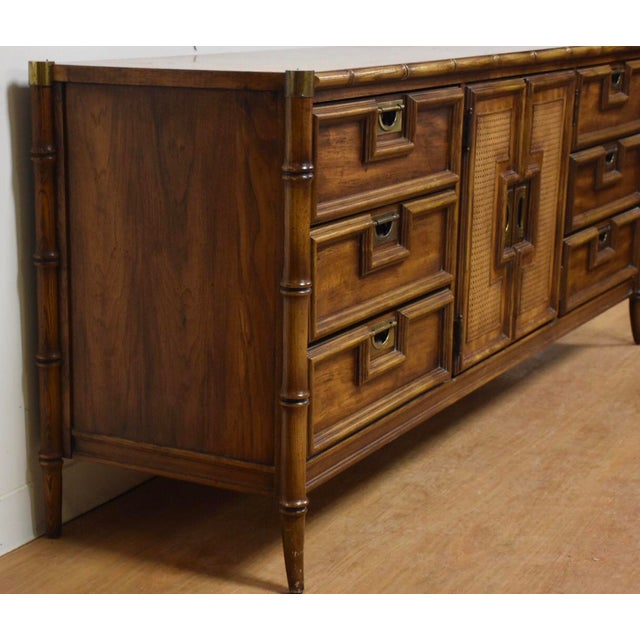 Stanley Faux Bamboo Hollywood Regency Dresser - Image 4 of 11