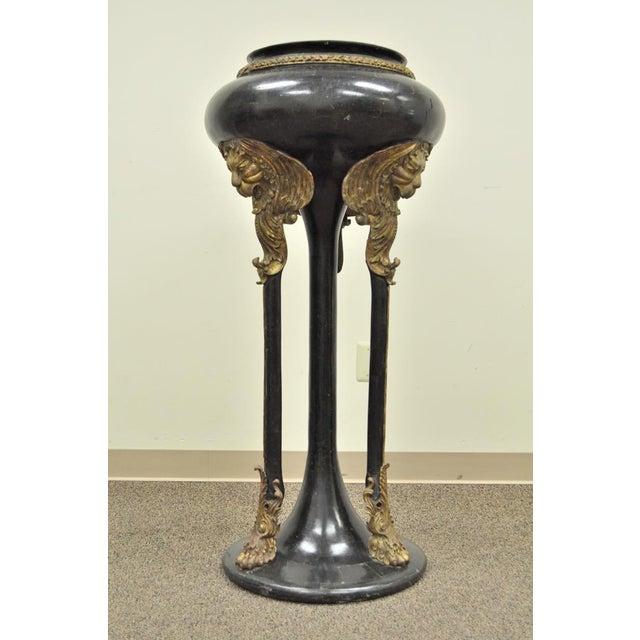 Vintage Tessellated Stone Lion Head Pedestal Bird Bath For Sale - Image 11 of 13