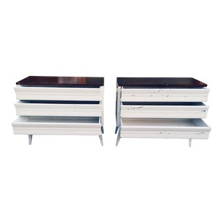 1960s Vintage White Wood Bachelor Chests-a Pair For Sale