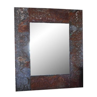 Large Zinc Coffer Framed Mirror For Sale