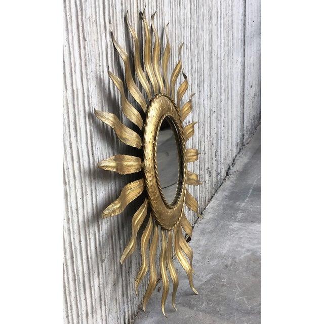 Glass Mid-Century Modern Gilt Iron Layered Leafed Flower Shaped Sunburst Mirror For Sale - Image 7 of 13