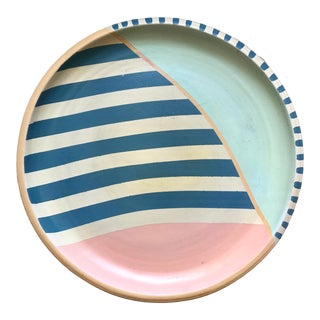 Hand Painted Terra-Cotta Plate For Sale