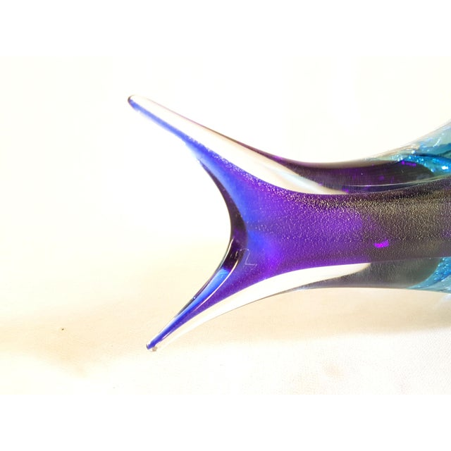 Glass 1970s Mid Century Modern Large Murano Glass Blue Fish Sculpture by Flavio Poli For Sale - Image 7 of 9