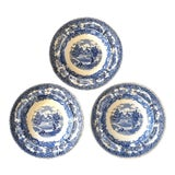Image of Antique 19th Century Swedish Blue & White Transferware Bowls - Set of 3 For Sale