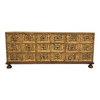 Mid-Century Modern Vintage John Widdicomb Hand Carved Low Vintage Cabinet/Sideboard For Sale