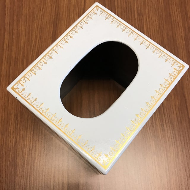 Vintage White and Gold Tissue Holder For Sale - Image 4 of 4
