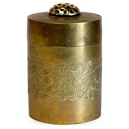 Etched Antique Brass Canister - Image 1 of 4