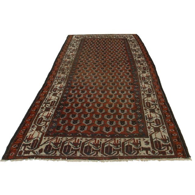 Hand knotted wool Persian Malayer rug with beautiful geometric design.