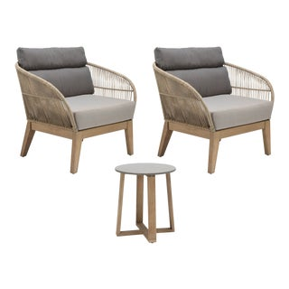Fuego Outdoor Patio Lounge Chair and Side Table Set, Beige For Sale
