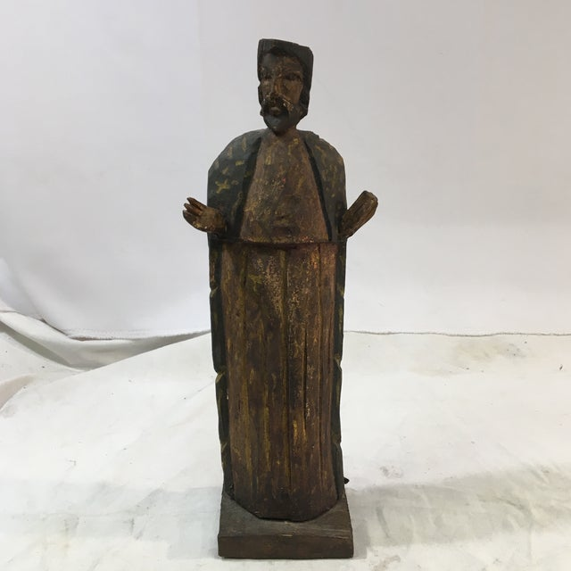 Wood Antique Jesus Wood-Carved Hand-Painted Christian Icon Santos Figure For Sale - Image 7 of 7