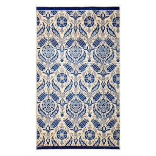 "New Blue Suzani Hand-Knotted Rug - 5'6"" X 9'4"" For Sale"