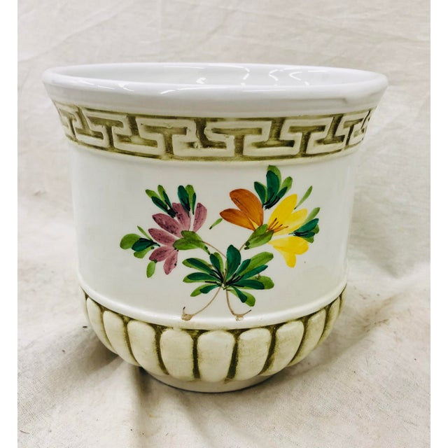 Stunning Vintage Hand Painted Italian Ceramic Vase with Floral Detail and Ribbed Base. Gorgeous with an orchid inside! A...