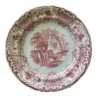 Pink, Crimson and Ivory Staffordshire Transferware Abbey 1790 Plate For Sale