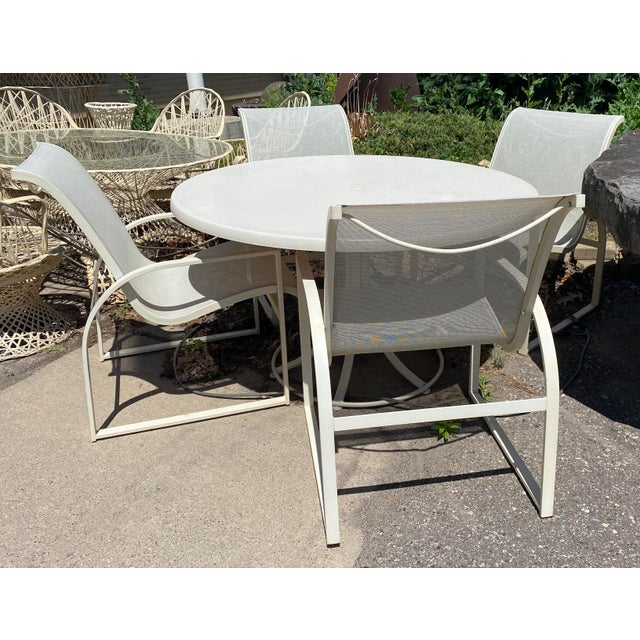 Mid Century Modern Woodard Margarita Patio Dining Set Table 4 Curved Chairs - Set of 5 For Sale - Image 11 of 12