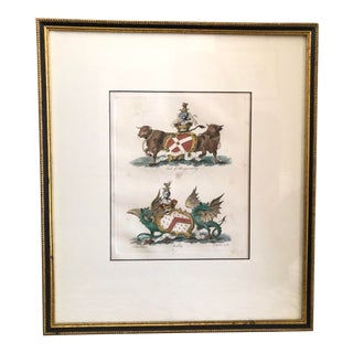 Antique Engraving of Dragons and Cows by Francis Chesham For Sale