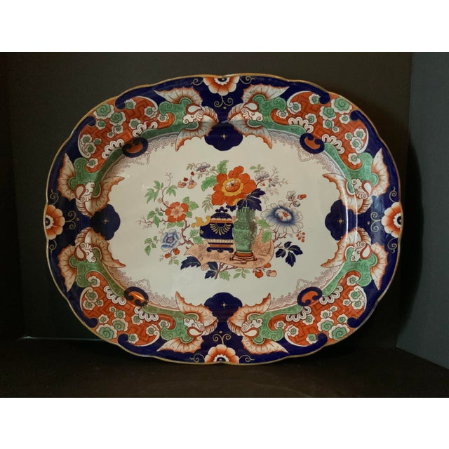 English Antique Ironstone China Hand Painted Platter For Sale - Image 3 of 9