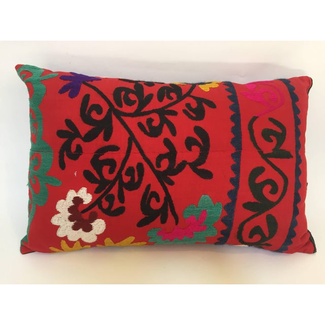 Large Vintage Colorful Suzani Embroidery Throw Pillow From Uzbekistan For Sale - Image 10 of 10