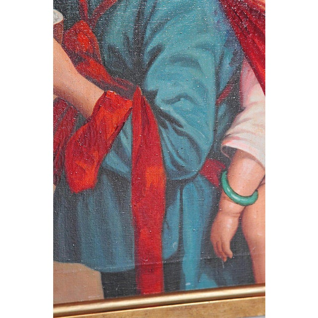 Chinese Oil Painting of Young Girl Carrying Baby For Sale - Image 10 of 12