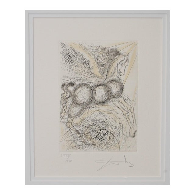 """Salvador Dali """"Pegasus"""" Reverse Plate Signed Etching C.1970s For Sale"""