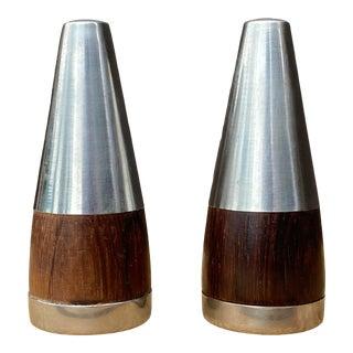 Vintage Danish Rosewood & Stainless Steel Salt & Pepper Shaker Set- a Pair For Sale