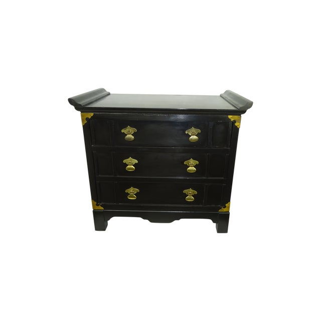 Black Lacquer Miniature 2 Drawer End Table C.1960 - Image 1 of 8
