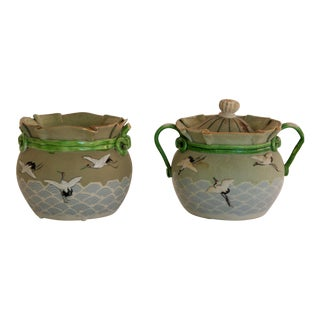 Vintage Hand-Painted Japanese Bowls, Set of 2 For Sale