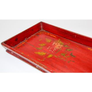 Red Chinese Antique Hand Painted Wood Serving Tray Preview