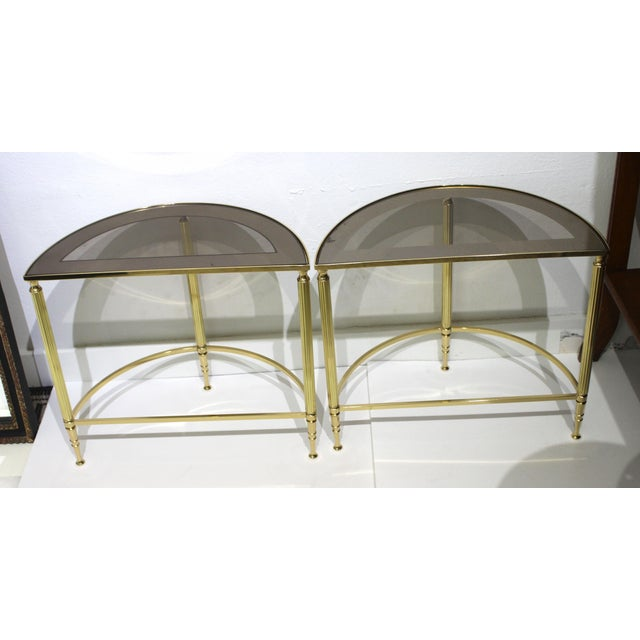 Brass Mid-Century Modern Demi-Lune Drinks or Side Tables Brass and Smoked Glass - a Pair For Sale - Image 8 of 13