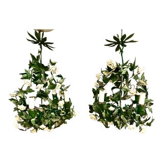Pair French Tole and Porcelain Flower Chandeliers, C. 1960-70 For Sale