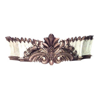 Carousel Style Carved Painted Valance For Sale