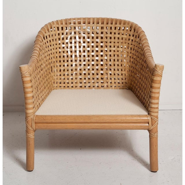Vintage Woven Leather Armchair and Ottoman Set by McGuire For Sale - Image 11 of 13